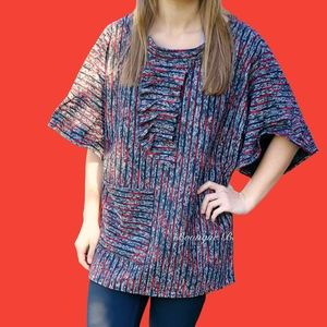 Red & Black Tweed Tunic with Ruffle Front